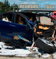 Uppmärksammad Tesla-krasch i Mountain View, Kalifornien, i mars 2018. TT NYHETSBYRÅN
