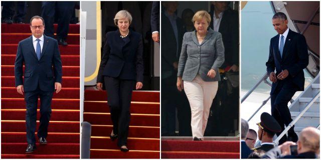 Hollande, May och Merkel möttes av röd matta. Obama använde flygplanets trappa. TT
