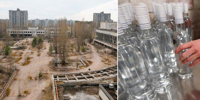 Den övergivna staden Pripyat, ca 3 km från kärnkraftverket Tjernobyl och en illustrationsbild på vodkaflaskor.  AP/TT