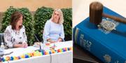Arbetsmarknadsminister Eva Nordmark (S) och socialminister Lena Hallengern (S) och en lagbok. TT
