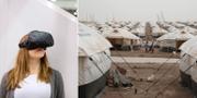 Person med VR-glasögon / Barn springer på ett flyktingläger i Irak. TT
