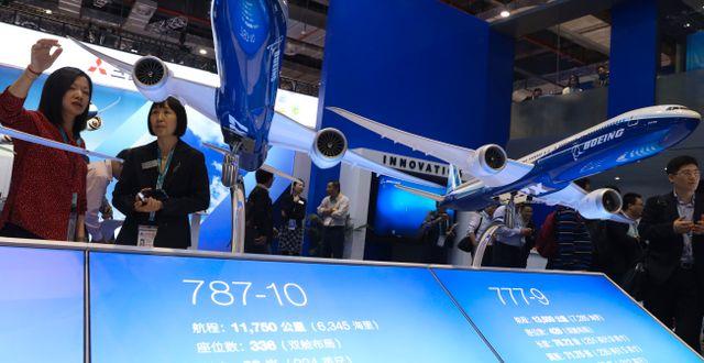 Boeingplan visas upp vid importexpo i Peking 2019. Ng Han Guan / TT NYHETSBYRÅN