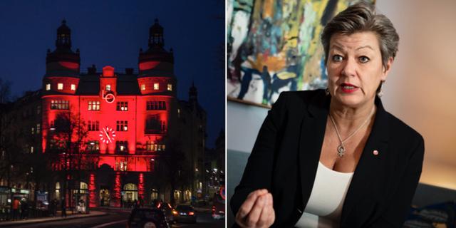 Ylva Johansson (S) och LO-borgen i Stockholm. Arkivbilder. TT