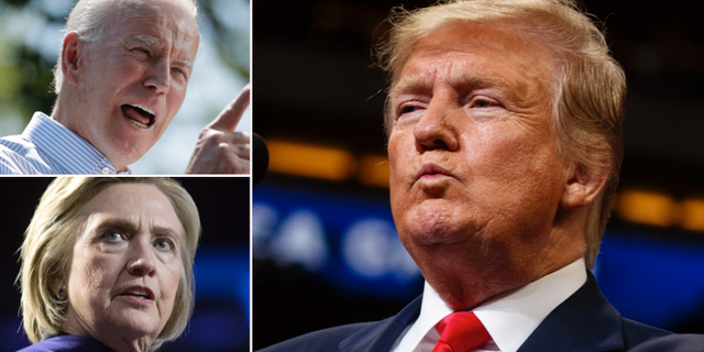 Joe Biden, Hillary Clinton och Donald Trump.  TT