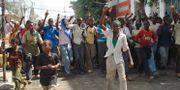 Somalier demonstrerar mot höga matpriser, ett av flera upplopp under matpriskrisen 2007–2008. MOHAMED SHEIKH NOR / TT / NTB Scanpix