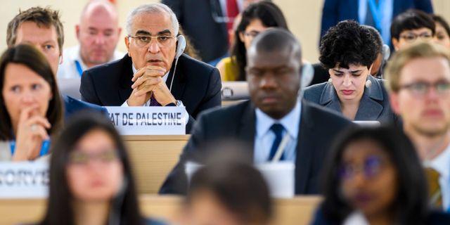 Palestinas ambassadör i FN:s råd för mänskliga rättigheter. Martial Trezzini / TT / NTB Scanpix