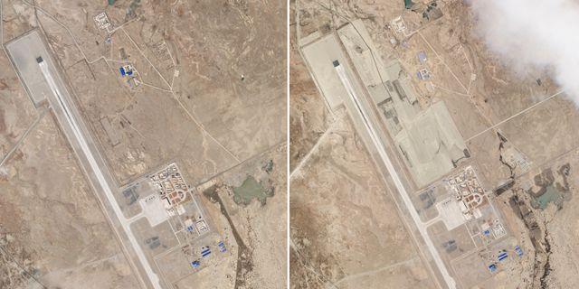 Satellitbilder visar utbyggnad vid ett kinesiskt flygfält nära den indiska gränsen vid Himalaya 1 april till vänster jämfört med 17 maj till höger. TT