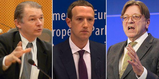 Philippe Lamberts, Zuckerberg och Guy Verhofstadt. Wikimedia/EU-parlamentet/TT