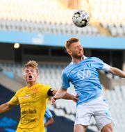 Mjällby och Malmö FF vid en match i Allsvenskan 15 juni. LUDVIG THUNMAN / BILDBYRÅN