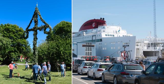 Midsommarstång / bilar köar för att köra ombord på Destination Gotlands färja i Nynäshamn  TT