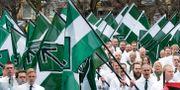 Nazistiska Nordiska motståndsrörelsens (NMR) demonstration i Borlänge.  Ulf Palm/TT / TT NYHETSBYRÅN