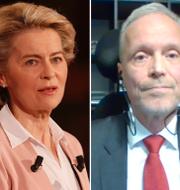 EU-kommissionens ordförande Ursula von der Leyen, tidigare ambassadören Stefan Eriksson och Belarus president  Aleksandr Lukasjenko. TT/Skärmdump SVT