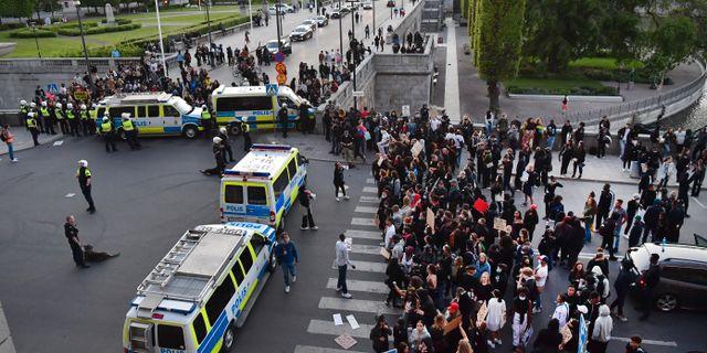 Polis och demonstranter vid slottet.  Jonas Ekströmer/TT / TT NYHETSBYRÅN