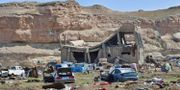 IS sista fäste utanför staden Baghuz. GIUSEPPE CACACE / AFP