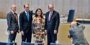 Sveriges fyra nyvalda talmän efter valet 2014: Urban Ahlin (S), till höger, vice talman Tobias Billström (M), andre från vänster, andre vice talman Björn Söder (SD), till vänster, och tredje vice talman Esabelle Dingizian (MP). Henrik Montgomery / TT NYHETSBYRÅN