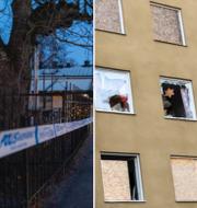 Brottsplatserna i Uppsala och i Stockholm. TT