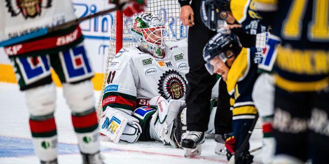 Frölundas målvakt Niklas Rubin deppar. MATHIAS BERGELD / BILDBYRÅN