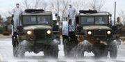 Militärfordon i Sydkorea sprutar desinfektionsmedel. Kim Young-tae / TT NYHETSBYRÅN