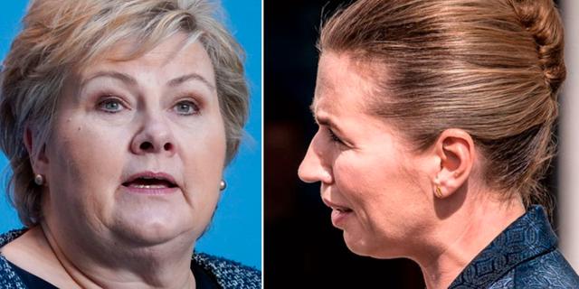 Erna Solberg och Mette Frederiksen. TT