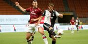 Zlatan Ibrahimovic under gårdagens match.  ALESSANDRO GAROFALO / BILDBYRÅN