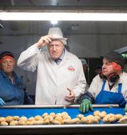 Boris Johnson på en chipsfabrik under valrörelsen. Stefan Rousseau / TT NYHETSBYRÅN