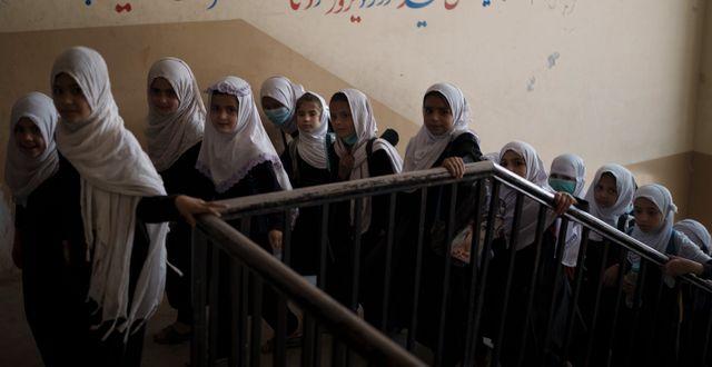 Afghanska flickor i lägre årskurser, den 12 september. Felipe Dana / TT NYHETSBYRÅN