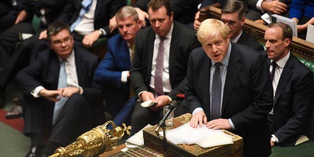 Storbritanniens premiärminister Boris Johnson i parlamentet.  UK PARLIAMENT / TT NYHETSBYRÅN