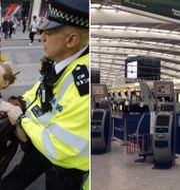 En kvinna förs bort av polis under klimatprotesterna i London.  Tolga AKMEN/AFP/TT, Jo Kearney / TT