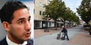 Ardalan Shekarabi (S) och en äldre man på promenad i Kristinehamn. TT