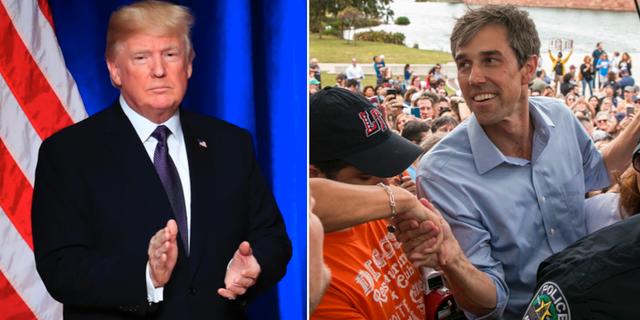 Donald Trump och Beto O'Rourke. TT