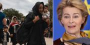Flyktingar anländer till Grekland och Ursula von der Leyen.  TT/AP