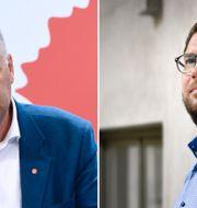 Jonas Sjöstedt och Jimmie Åkesson. TT