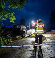 En personbil jagades av polis genom Fagersta strax efter midnatt. Niklas Hagman / TT NYHETSBYRÅN