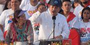 Nicaraguas president Daniel Ortega talar i Managua  under firandet av 39-årsdagen av sandinisternas revolution.    MARVIN RECINOS / AFP