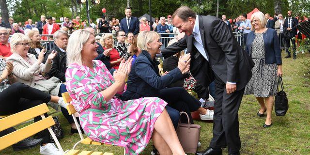 I publiken fanns bland andra S partisekreterare Lena Rådström Baastad och utrikesminister Margot Wallström Fredrik Sandberg/TT / TT NYHETSBYRÅN