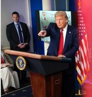 Trumpanhängare under 2016/Donald Trump under dagens pressträff. TT