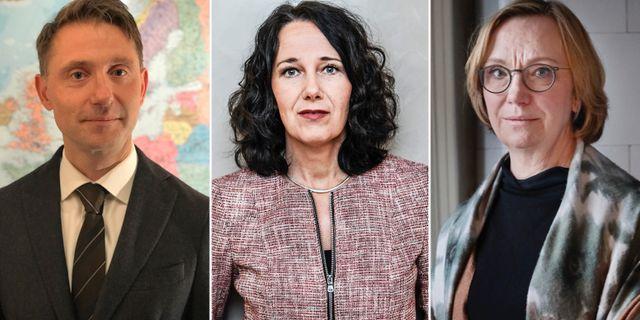 Chefsekonomerna Andreas Wallström, Swedbank Annika Winsth, Nordea, och Christina Nyman, Handelsbanken.