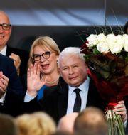 Lag och rättvisas ledare Jaroslaw Kaczynski på valnatten.  KACPER PEMPEL / TT NYHETSBYRÅN