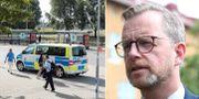 Polisinsats vid brottsplatsen / Mikael Damberg (S).  TT.
