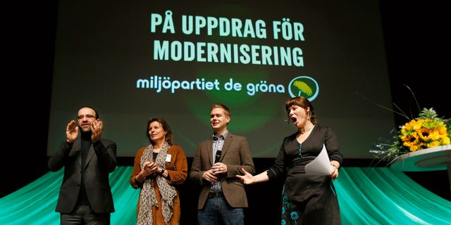 Mehmet Kaplan, Isabella Lövin, Gustav Fridolin och Åsa Romson år 2014. Linn Malmén / TT / TT NYHETSBYRÅN