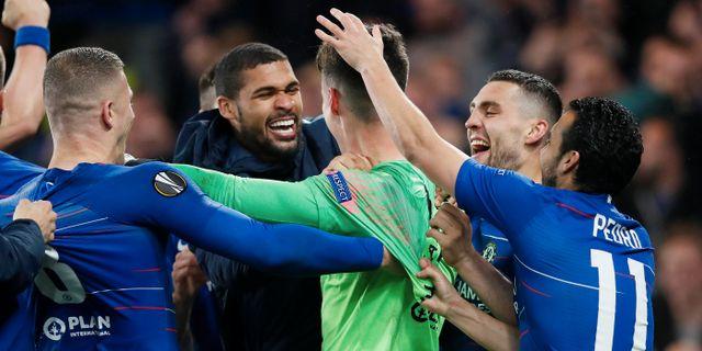 Chelsea-spelarna firar. DAVID KLEIN / BILDBYRÅN