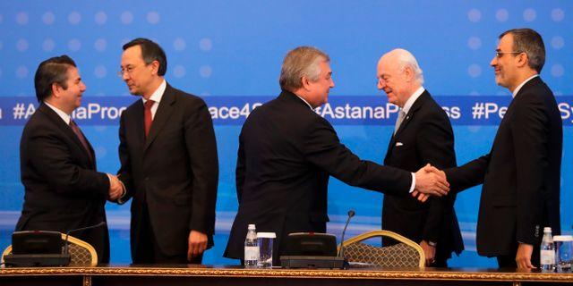 Parterna förde samtal i Astana i januari förra året.  Sergei Grits / TT NYHETSBYRÅN