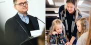 Peter Fredriksson och skolbarn.  TT