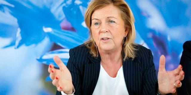 Liberalernas partisekreterare Maria Arnholm vid pressträffen i riksdagen. Christine Olsson/TT / TT NYHETSBYRÅN
