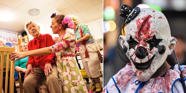 Clownen Eva Riepe och en halloween-clown. TT