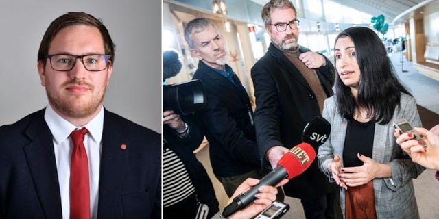 Håkan Svenneling ställer sig bakom kandidaten Nooshi Dadgostar. TT