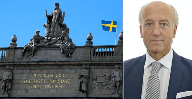 En bild på riksdagen och på Robert Halef. Riksdagen/TT