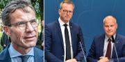 Ulf Kristersson/inrikesminister Mikael Damberg (S) och justitieminister Morgan Johansson (S) TT