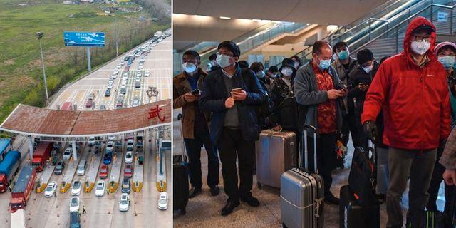 Bilar vid en avgiftskontroll på motorvägen mot Wuhan/Människor anländer till stadens tågstation. TT