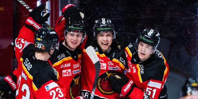 Luleås Petter Emanuelsson jublar efter 3-3-målet. SIMON ELIASSON / BILDBYRÅN
